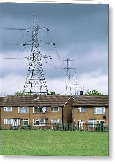Power Lines Near Houses Greeting Card