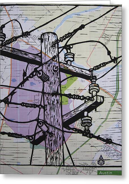 Power Lines On Map Greeting Card by William Cauthern