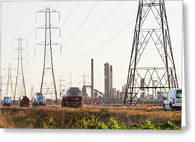 Power Lines To A Petrochemical Plant Greeting Card by Ashley Cooper