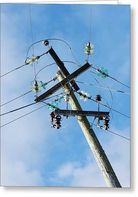 Power Lines With Glass Insulators Greeting Card by Cordelia Molloy