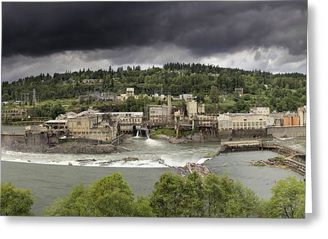 Power Plant At Willamette Falls Lock Greeting Card