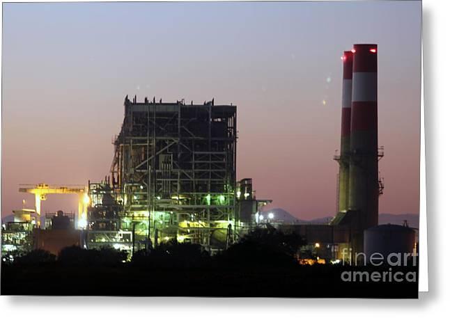 Power Station Lights Greeting Card by Henrik Lehnerer