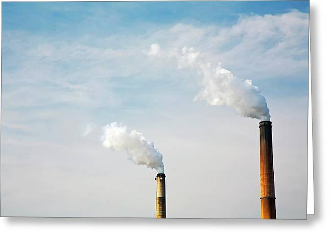 Power Station Smoke Stacks Greeting Card by Jim West