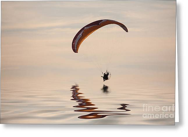 Powered Paraglider Greeting Card by John Edwards