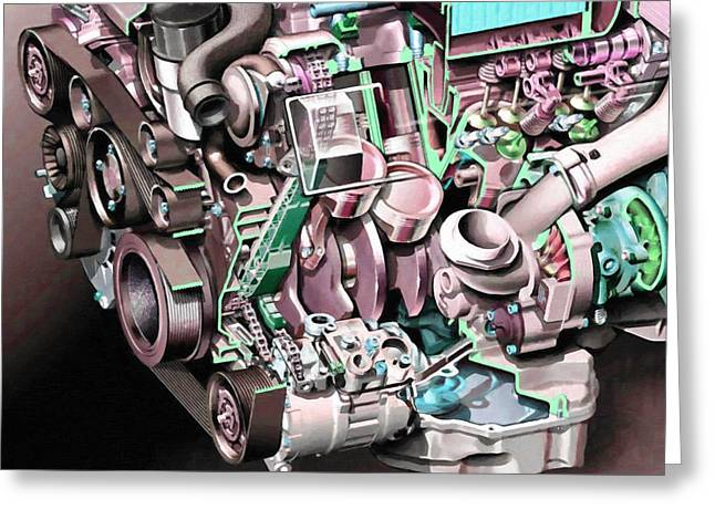 Powerful Car Engine  Greeting Card by Lanjee Chee
