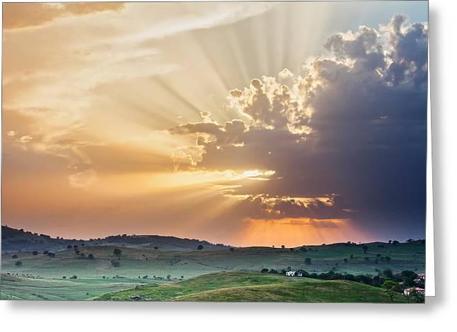 Powerful Sunbeams Greeting Card