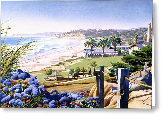 Powerhouse Beach Del Mar Blue Greeting Card by Mary Helmreich