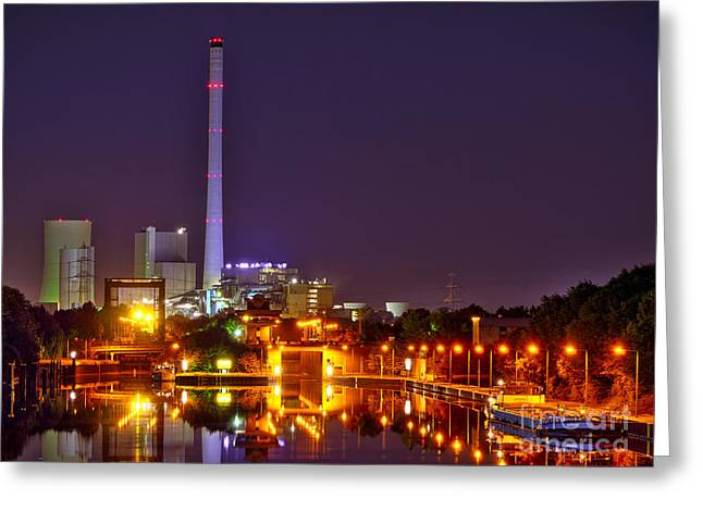 Powerhouse In A Sea Of Lights Greeting Card