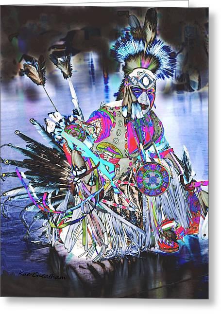 Powwow Dancer In Warrior Regalia Greeting Card by Kae Cheatham