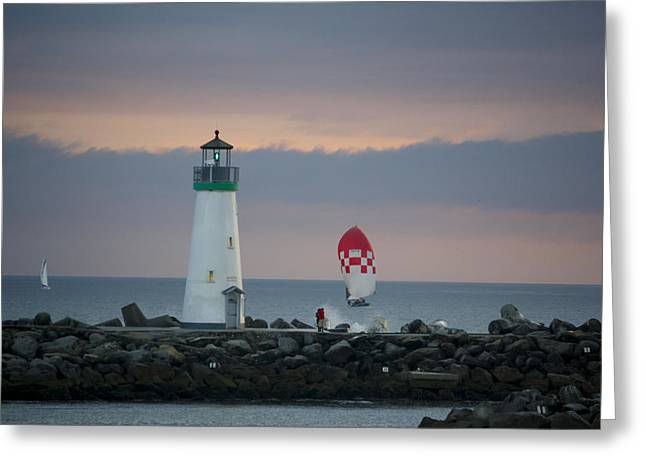 pr 200 - The Sailboats Greeting Card by Chris Berry