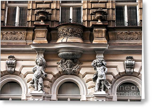 Prague Architecture Greeting Card by John Rizzuto