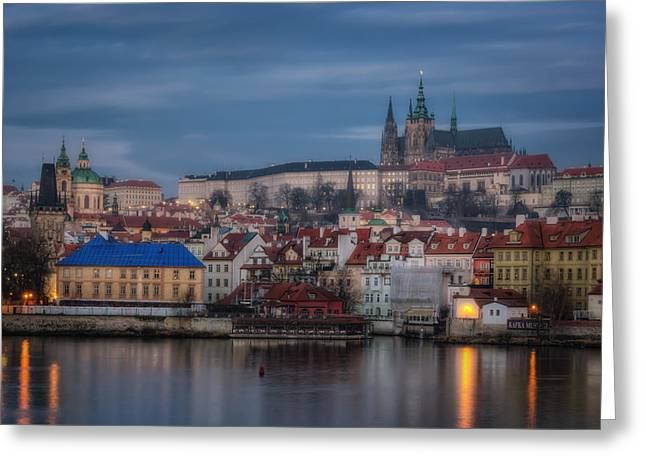 Prague Castle Dawn Greeting Card by Joan Carroll