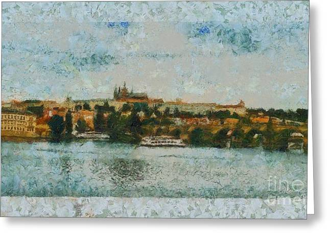 Prague Castle Over The River Greeting Card by Dana Hermanova
