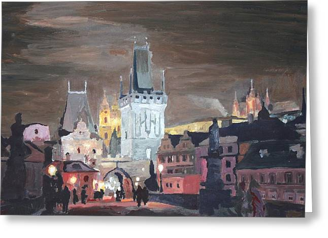 Prague Charles Bridge - Karluv Most Greeting Card by M Bleichner