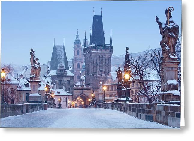 Prague - Charles Bridge Tower Nad St Greeting Card by Panoramic Images