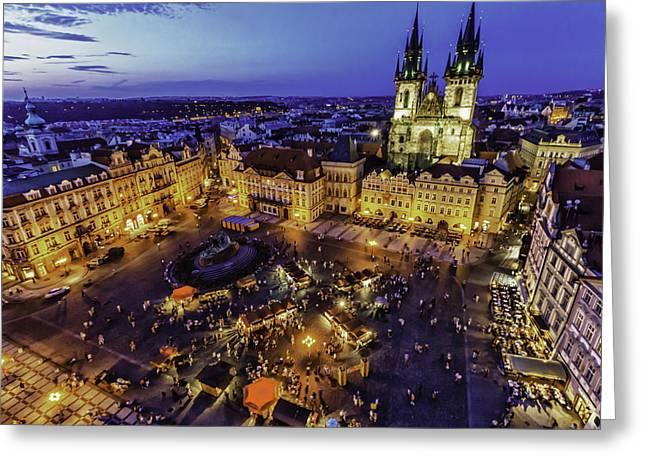 Prague Cityscape At Dusk Staromestski Namesti Greeting Card by Valerii Tkachenko