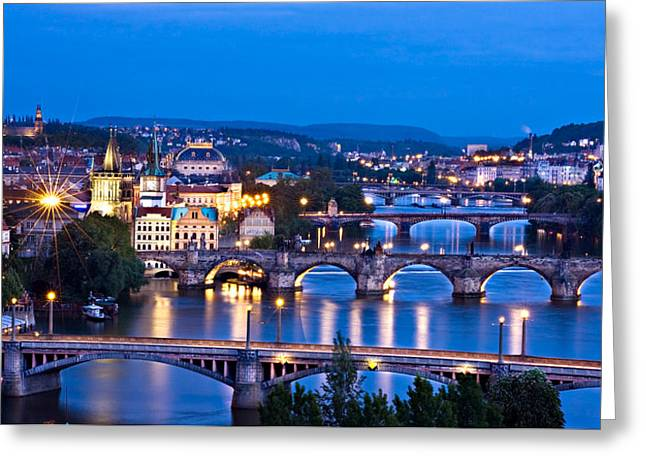 Prague Cityscape At Night Greeting Card