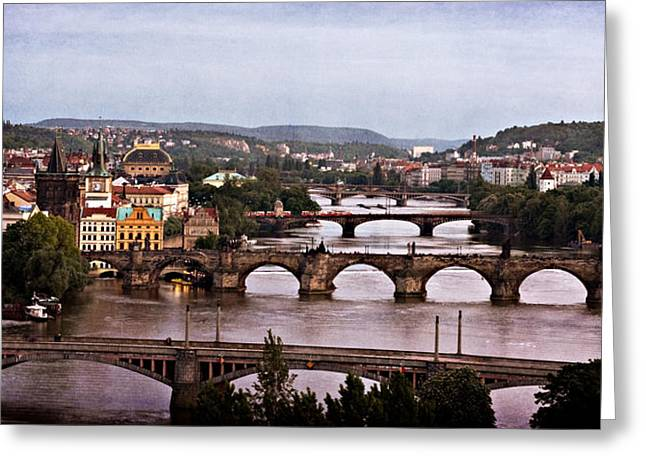Prague Cityscape - Texture Greeting Card by Barry O Carroll