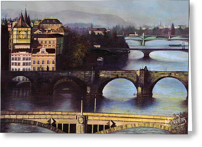 Prague Greeting Card by Dimitrios Michelis