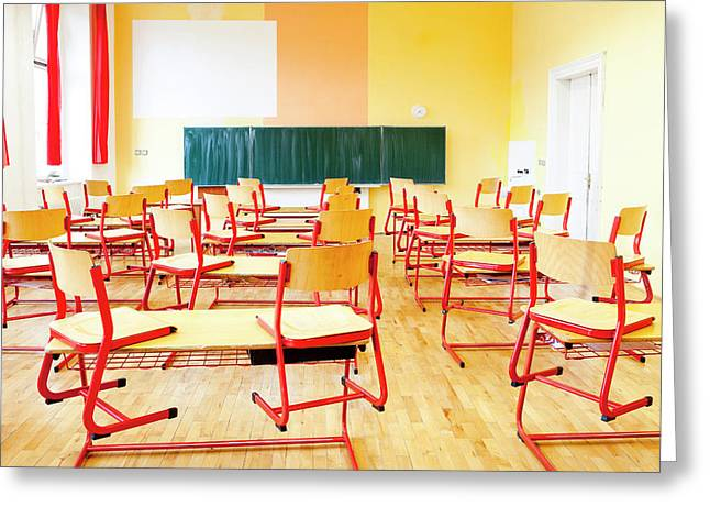 Prague - Empty Classroom At State Greeting Card by Panoramic Images