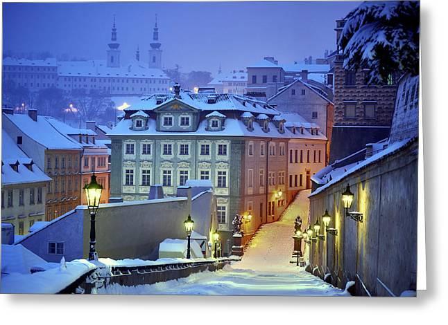 Prague In White Greeting Card by Martin Froyda