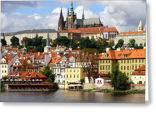 Greeting Card featuring the photograph Prague Skyline by Ira Shander