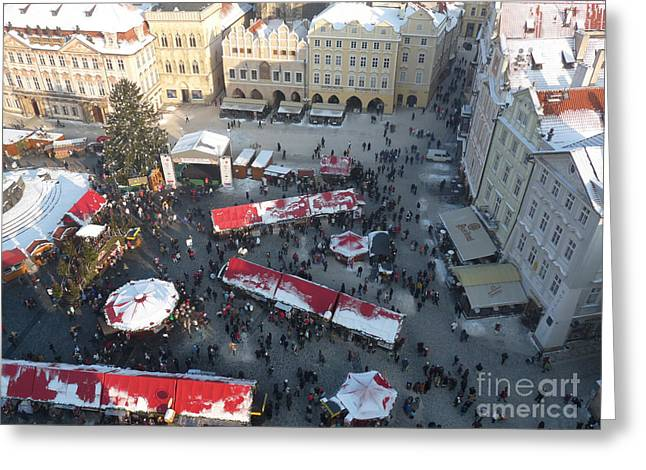 Greeting Card featuring the photograph Prague Shoppers by Deborah Smolinske