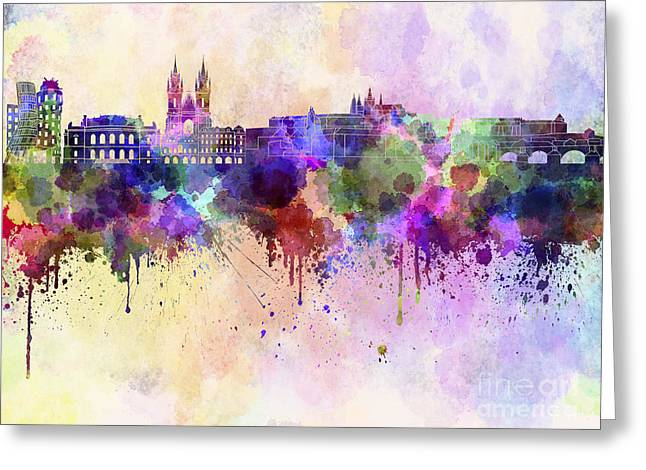 Prague Skyline In Watercolor Background Greeting Card