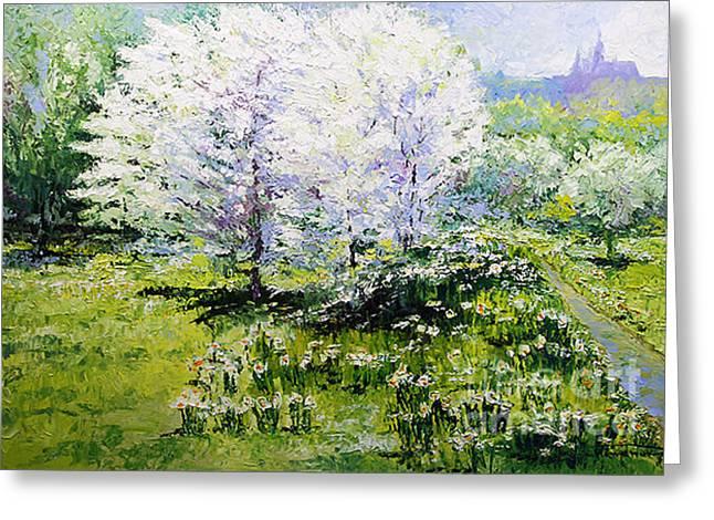 Prague Spring In The Petrin Gardens Greeting Card by Yuriy Shevchuk
