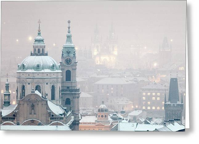 Prague - St. Nicholas Church And Spires Greeting Card
