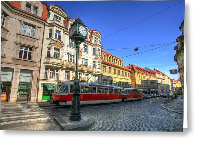 Prague Streetcar Greeting Card