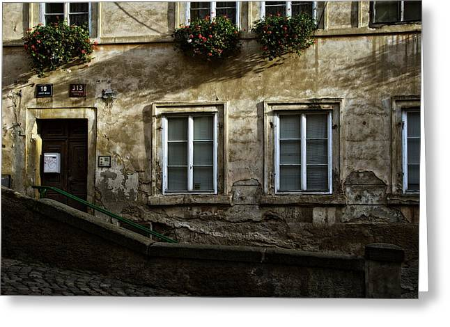 Prague Textures Greeting Card by Joan Carroll