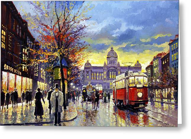 Prague Vaclav Square Old Tram Imitation By Cortez Greeting Card by Yuriy  Shevchuk