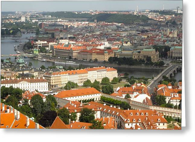 Prague - View From Castle Tower - 02 Greeting Card by Gregory Dyer