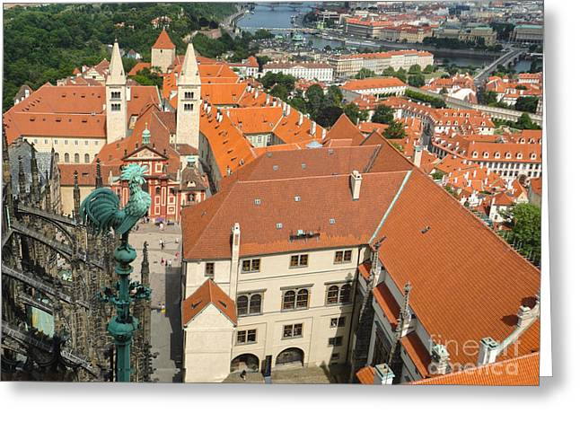 Prague - View From Castle Tower - 04 Greeting Card by Gregory Dyer