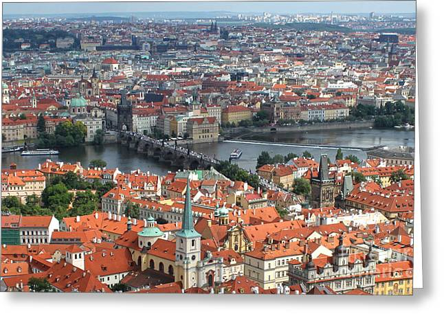 Prague - View From Castle Tower - 05 Greeting Card by Gregory Dyer