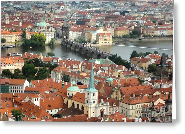 Prague - View From Castle Tower - 06 Greeting Card by Gregory Dyer