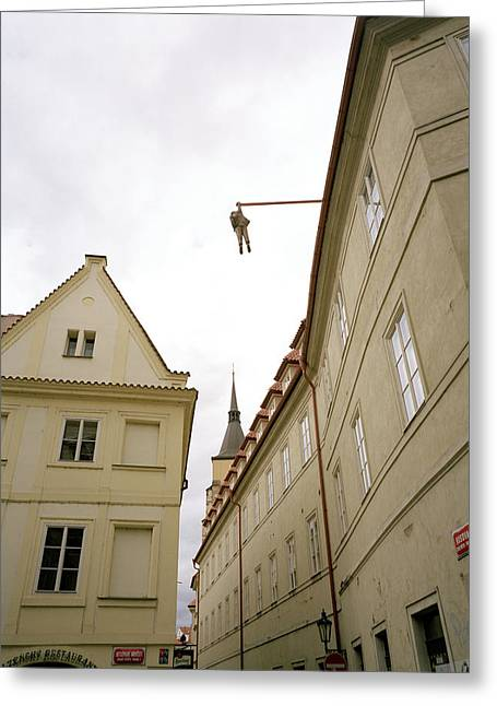 Prague's Hanging Man Greeting Card by Shaun Higson