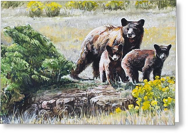 Caring Mother Paintings Greeting Cards - Prairie Black Bears Greeting Card by Aaron Spong