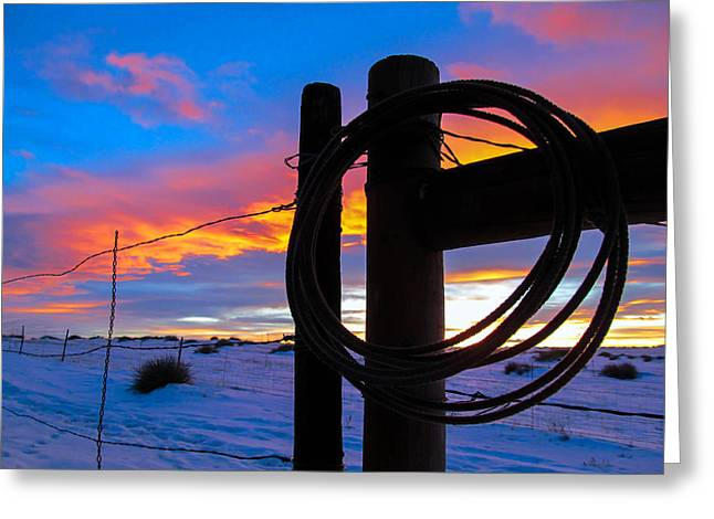 Prairie Fence Sunset Greeting Card