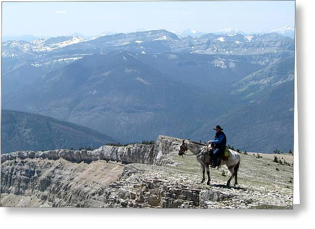 Prairie Reef View With Horse And Rider Greeting Card
