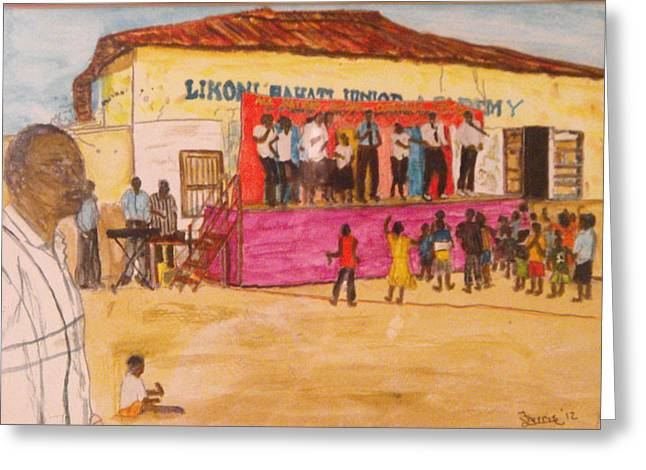 Praisin The Lord In Kenya Greeting Card by Larry Farris