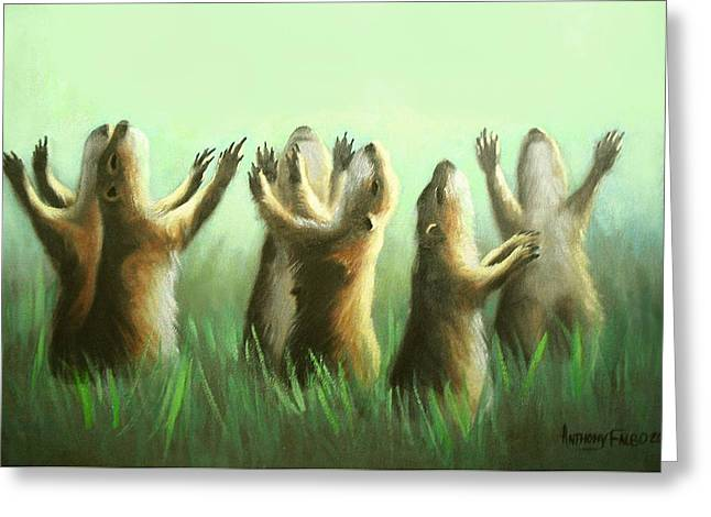 Greeting Card featuring the painting Praising Prairie Dogs by Anthony Falbo