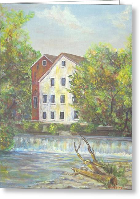 Greeting Card featuring the painting Prallsville Mill From Waterfall by Luczay