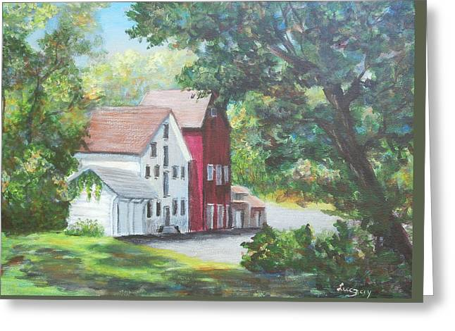 Greeting Card featuring the painting Prallsville Mill  by Luczay