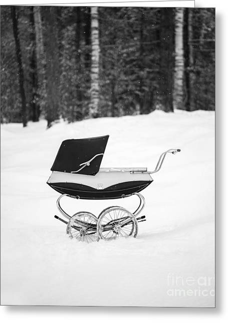 Pram In The Snow Greeting Card