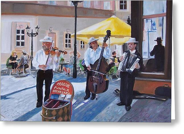 Praque Street Musicians Greeting Card by Donna Munsch
