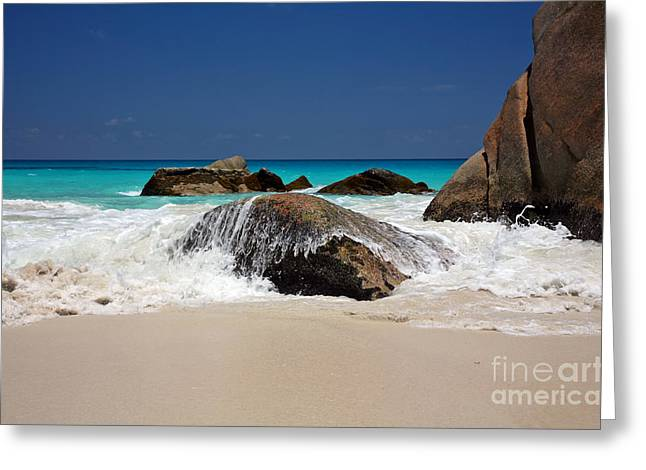 Praslin Island Waves Greeting Card