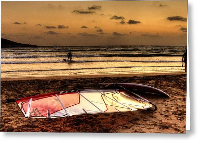 Greeting Card featuring the photograph Prasonisi - A Day Of Windsurfing Is Over by Julis Simo