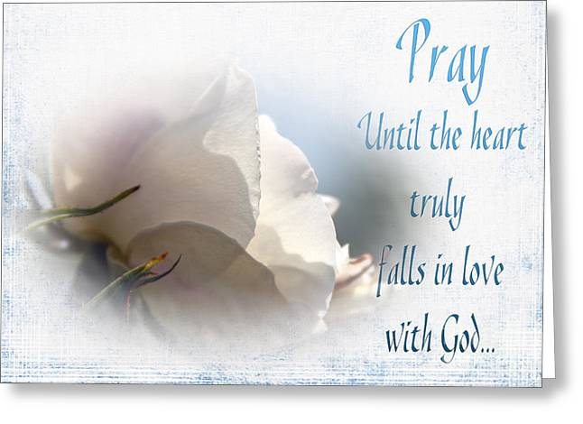 Pray For Love Greeting Card by Jean OKeeffe Macro Abundance Art